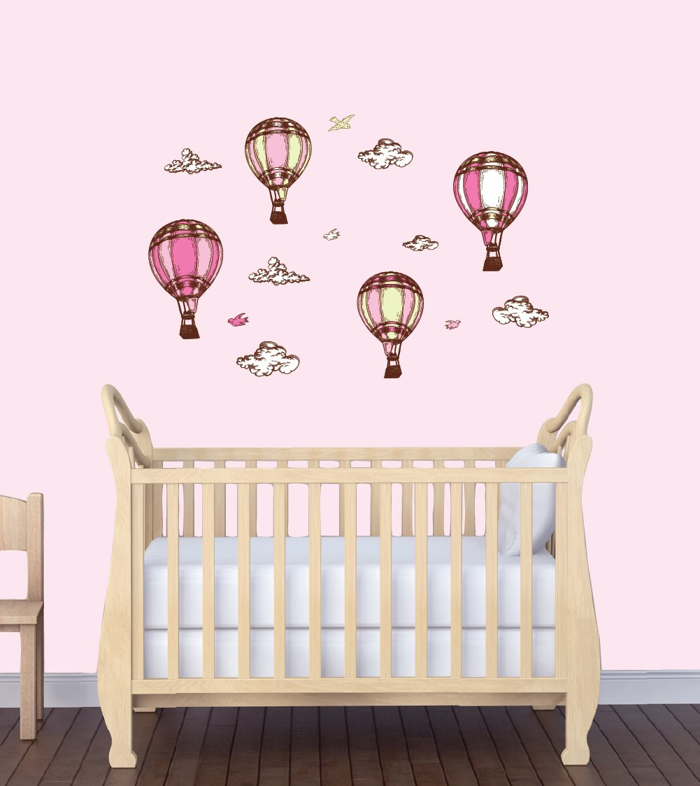 Amazon : Baby Girl Wall Decals, Hot Air Balloons For Nursery, Pink  Balloons : Baby