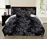 Ace 6-piece Reversible Soft Night Black Tree Branches Comforter Set (Queen Size)