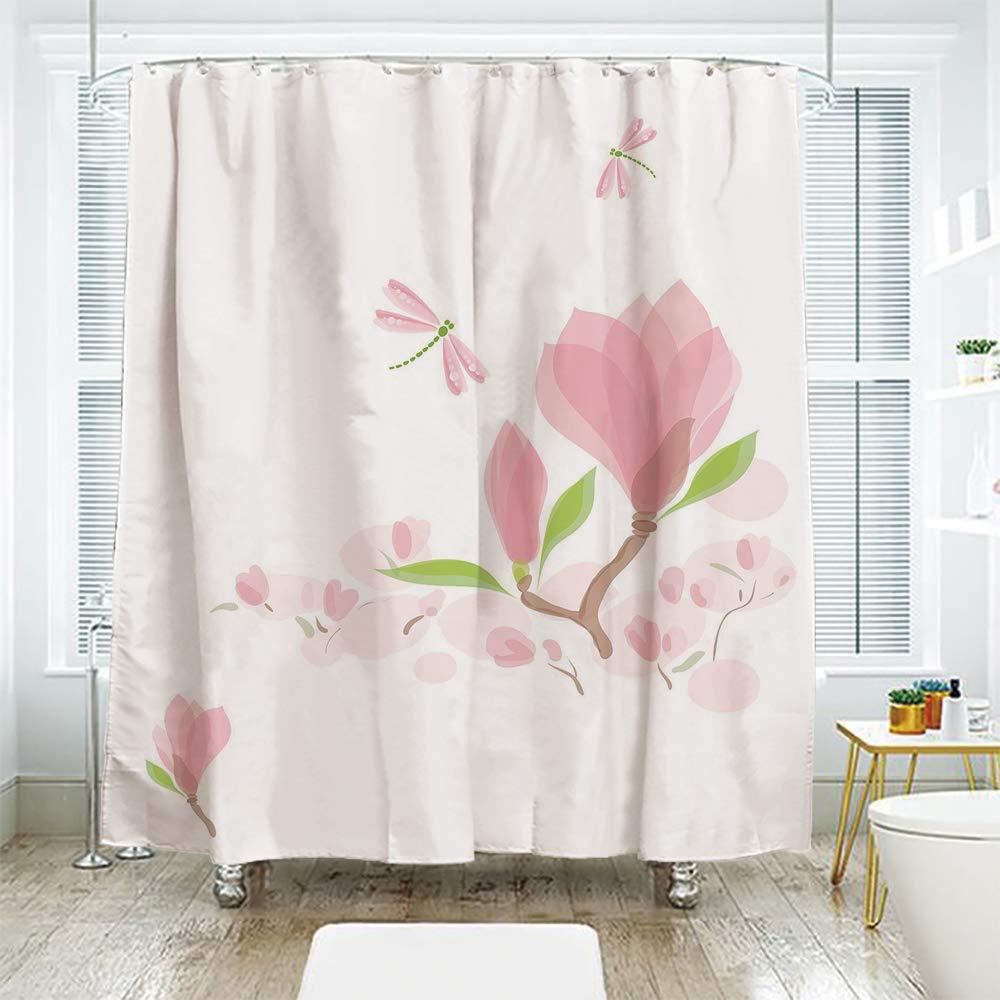 Scocici バスルームカーテン 別々のドアカーテン シャワーカーテン、トンボ、マグノリアの枝と葉 ソフトトーンロマンス 春のコンセプト装飾 ライトピンクライムグリーン 70.8インチ x 72インチ 72
