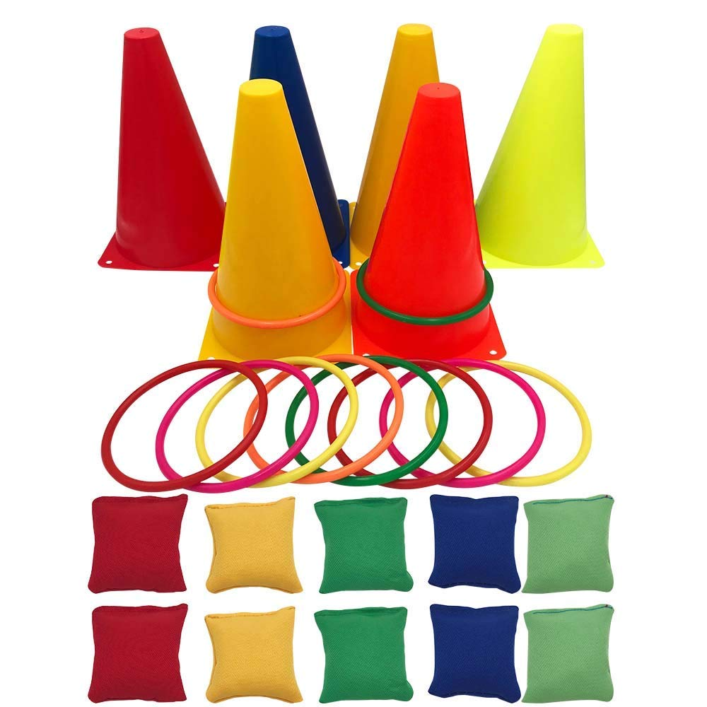 crayfomo 3 in 1 Carnival Games Set, Soft Plastic Cones Bean Bags Ring Toss Games for Kids Birthday Party Outdoor Games Supplies 26 Piece Combo Set(Improved The Size of Bean Bags)