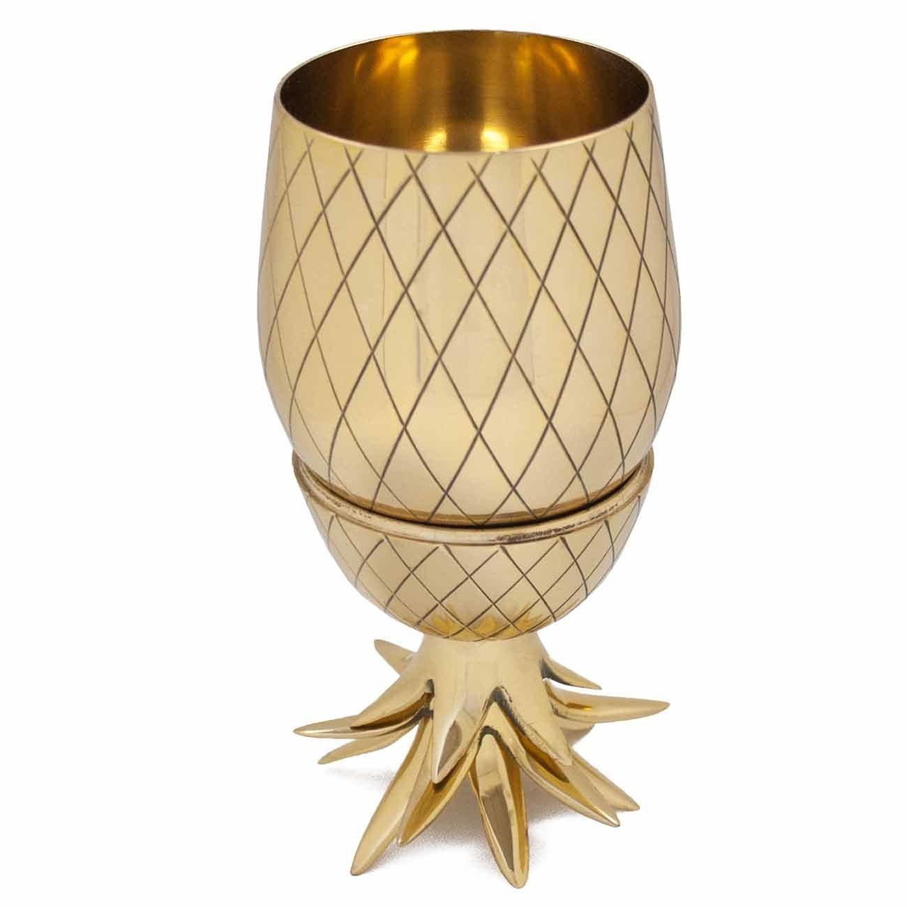 desiary Dekoratives Cocktailglas Ananas mit Strohhalm nicht sp/ülmaschinengeeignet goldfarben gold
