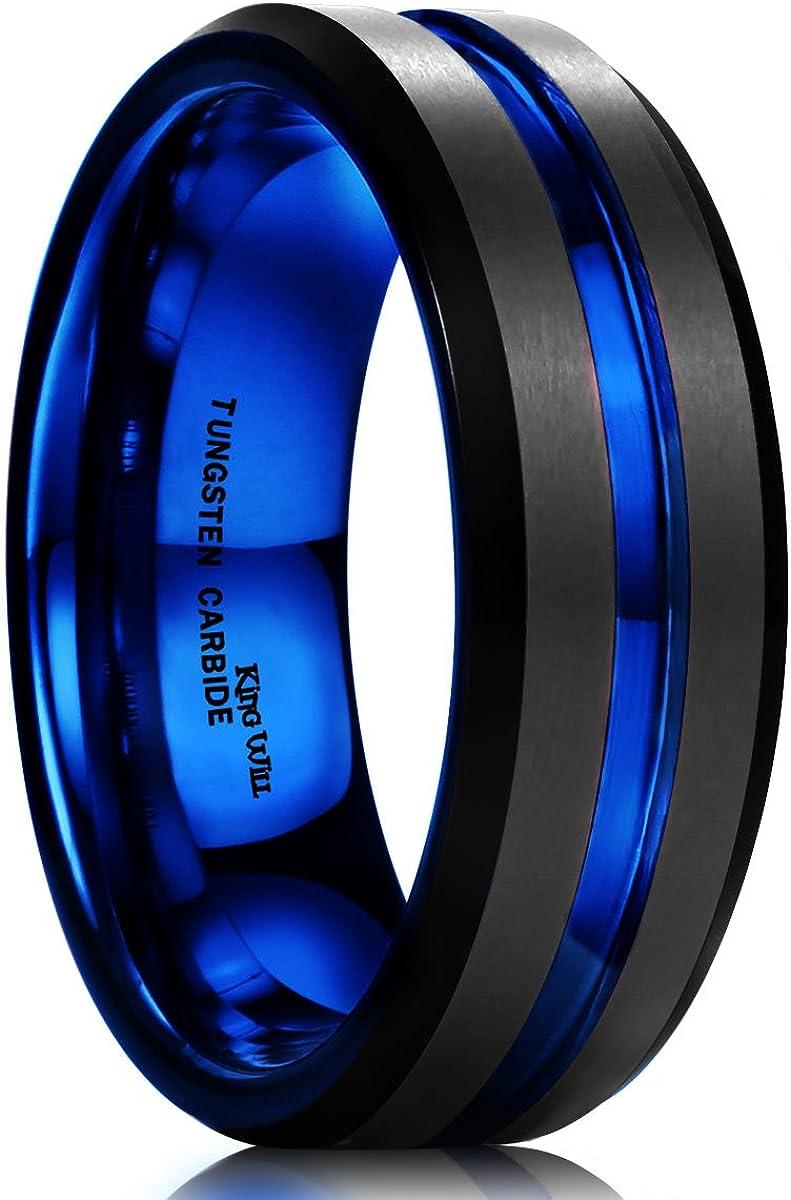 King Will DUO Mens 7mm Black Matte Finish Tungsten Carbide Ring Blue Beveled Edge Wedding Band