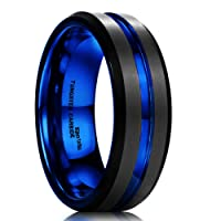 King Will DUO Mens 7mm Black Matte Finish Tungsten Carbide Ring Blue Beveled Edge Wedding Band