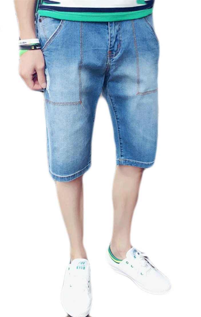 GAGA Men's Slim Light Denim Cargo Short Vintage Denim Jeans Light Blue M