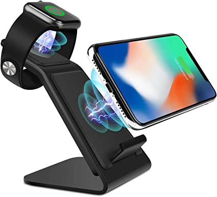 Black No Adapter PEMENOL Fast Wireless Charger Fan Compatible with iPhone Xs MAX//XS//X//X Plus//8//8 Plus,Qi-Enabled Charging Stand Compatible with Samsung Galaxy S9 plus//S8//S8 Plus//S7 Edge//S6 Edge