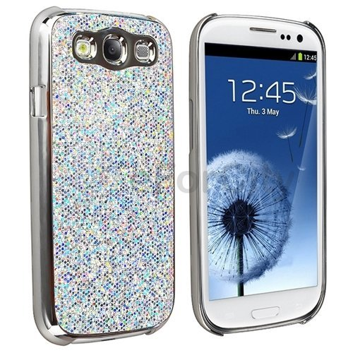 best sneakers 5d59c 6d4bc Silver Luxury Bling Glitter Coated Case Cover for Samsung Galaxy S3 III  I9300
