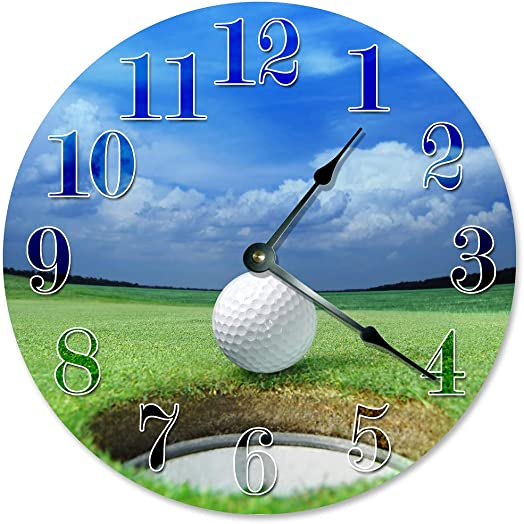 Sugar Vine Art Golf Ball Hole Unique Clock Large 10.5 Wall Clock Decorative Round Wall Clock Home Decor Golfing Clock Golfer Gift