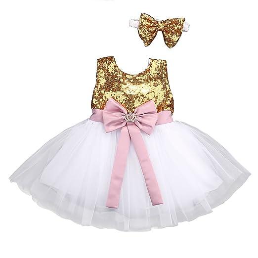 16f5d3b281e6 Amazon.com  Flower Tiger Baby Girl Dress Sequins Bowknot Princess ...