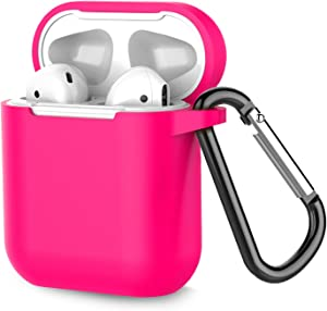 Coffea Protective Silicone Case with Keychain for Apple AirPods 1 & 2 (Front LED Not Visible) (Rose)