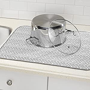"mDesign Absorbent Kitchen Countertop Dish Drying Mat - Pack of 2, 24"" x 18"", Gray/White"