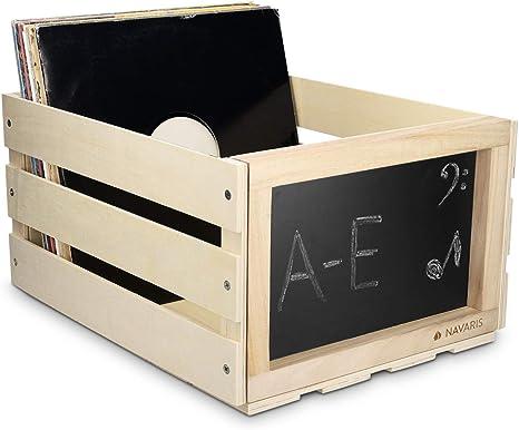 Navaris Caja de madera para almacenar discos de vinilo - Cajón para guardar vinilos con pizarra integrada - Organizador para 66 LPs: Amazon.es: Instrumentos musicales