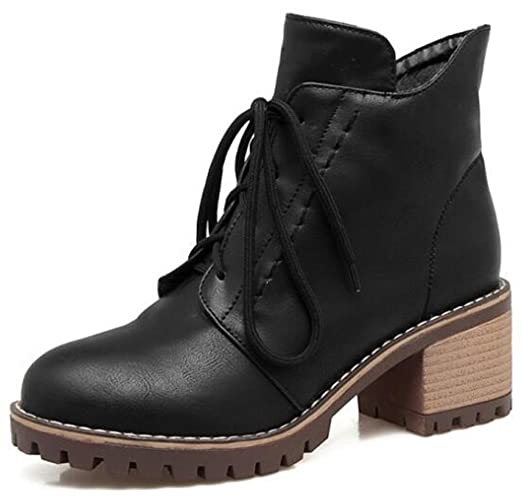 Women's Fashion Zip Up Round Toe Mid Chunky Heel Martin Ankle Boots