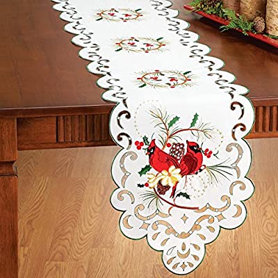 Embroidered Cardinal & Holly Table Linens