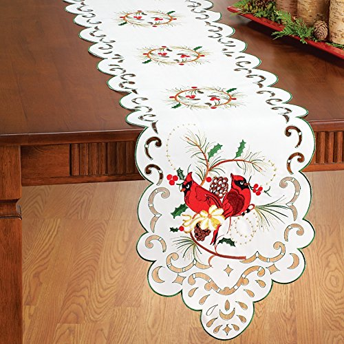 Embroidered Cardinal & Holly Table Linens, Runner