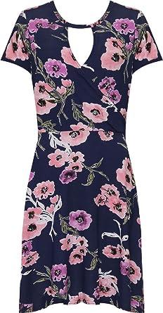 H F Girls ® New Women s Ladies Choker Neck Rose Floral Print Flared Skater  Short Sleeve Wrap 1c35ecfaf