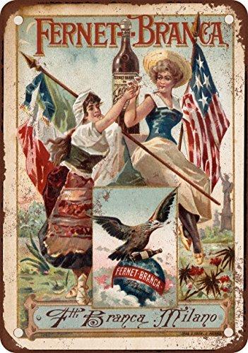 1889 Fernet-Branca Liqueur Vintage Look Reproduction Metal Tin Sign 12X18 Inches Fernet Branca Liqueur