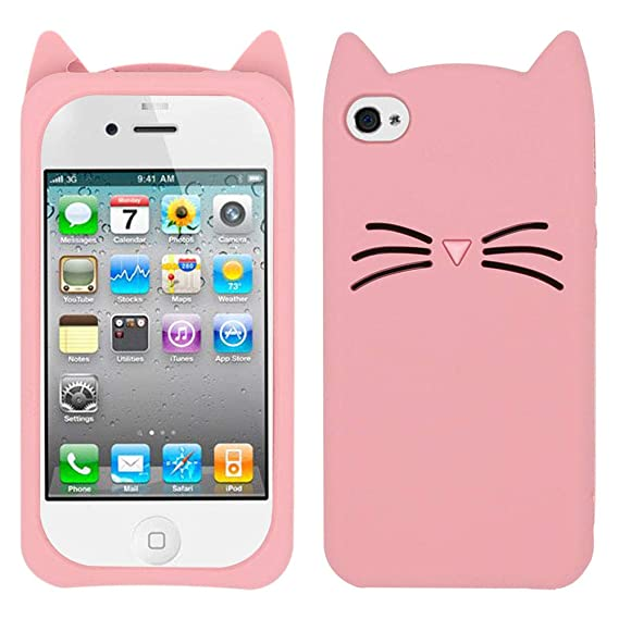 newest 96a5c 296be BEFOSSON Cartoon Cat Case for iPhone 4 / iPhone 4S, Cute 3D Cartoon Kitty  Meow Whisker Cat iPhone 4 4S Case, Animal Soft Silicone Rubber Protective  ...