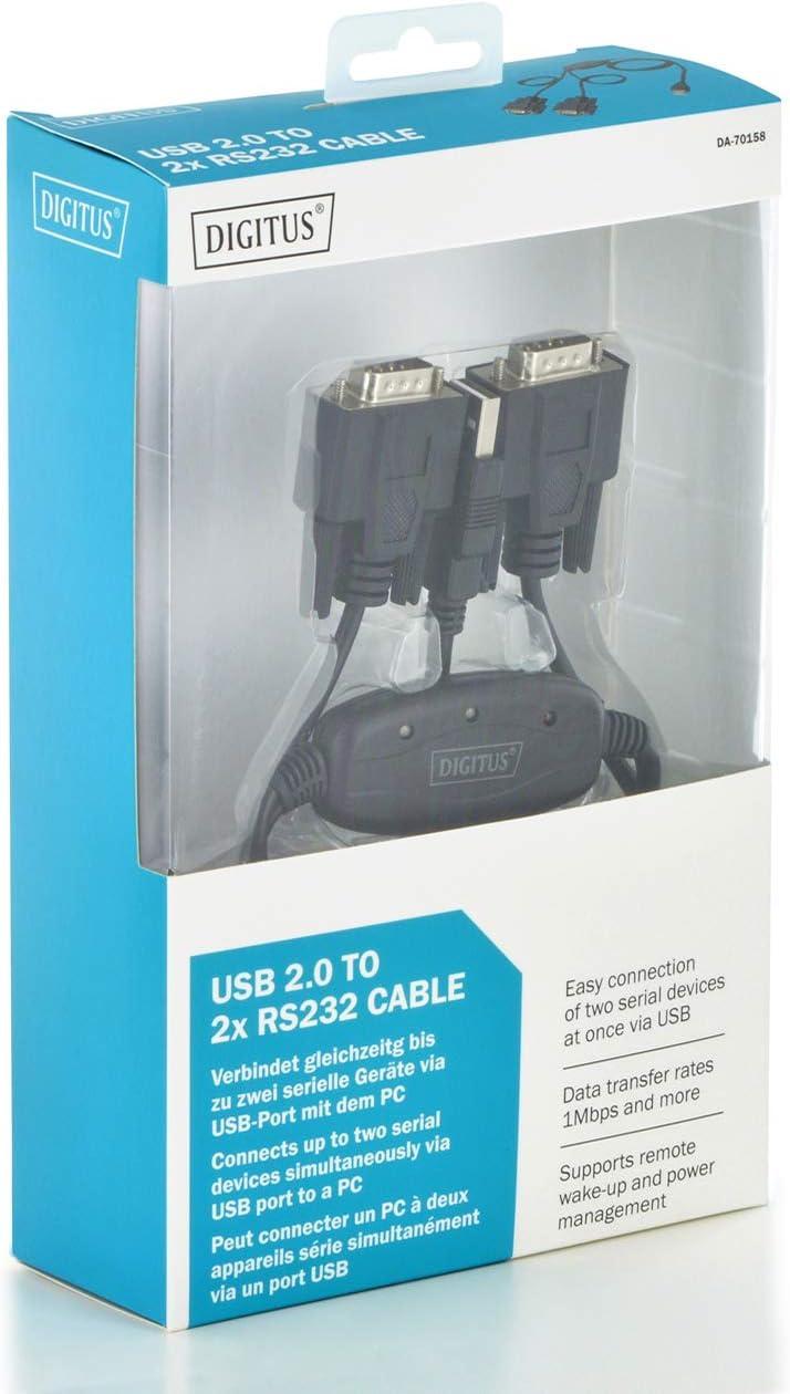 DIGITUS USB a 2x Serial Adapter - RS232 Converter: Amazon.es: Electrónica