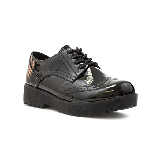 Lilley Womens Patent Lace Up Brogue Shoe in Black - Size 3 UK / 5 US