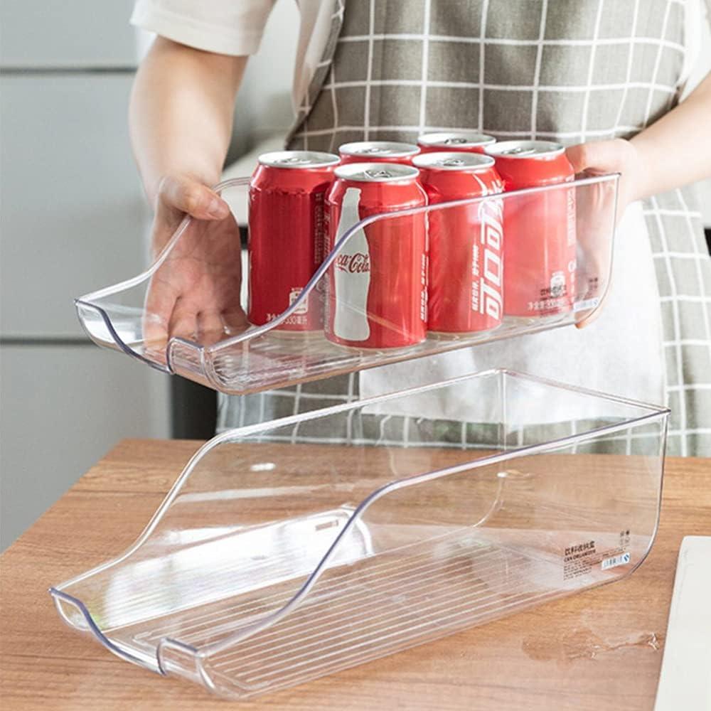 Pop Soda Can Organizer Bins for Refrigerator, Drink Holder Storage Dispenser Beverage Holder for Fridge, Freezer, Kitchen, Countertops, Cabinets, Clear Plastic Canned Food Pantry Storage Rack 2 Pack
