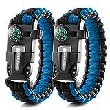 X-Plore Gear Emergency Paracord Bracelets | Set Of 2| The ULTIMATE Tactical Survival Gear| Flint Fire Starter, Whistle, Compass & Scraper/Knife| BEST Wilderness Survival-Kit -- Blue(R)/Blue(R)