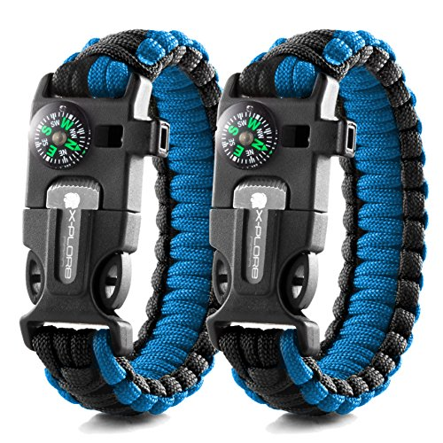 X-Plore Gear Emergency Paracord Bracelets | Set Of 2| The ULTIMATE Tactical Survival Gear| Flint Fire Starter, Whistle, Compass & Scraper/Knife| BEST Wilderness Survival-Kit -- Blue(M)/Blue(M)
