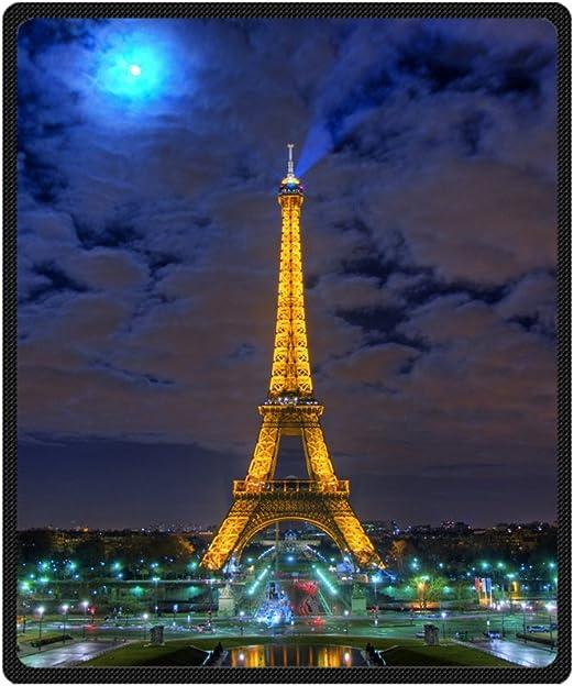 Amazon Com Custom Beautiful Paris Night Eiffel Tower Supersoft Throw Fleece Blanket 50 X60 Home Kitchen