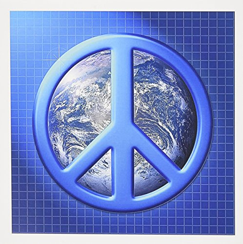 3dRose Peace On Earth large blue peace sign over the planet earth - Greeting Cards, 6 x 6 inches, set of 12 (gc_18146_2) ()