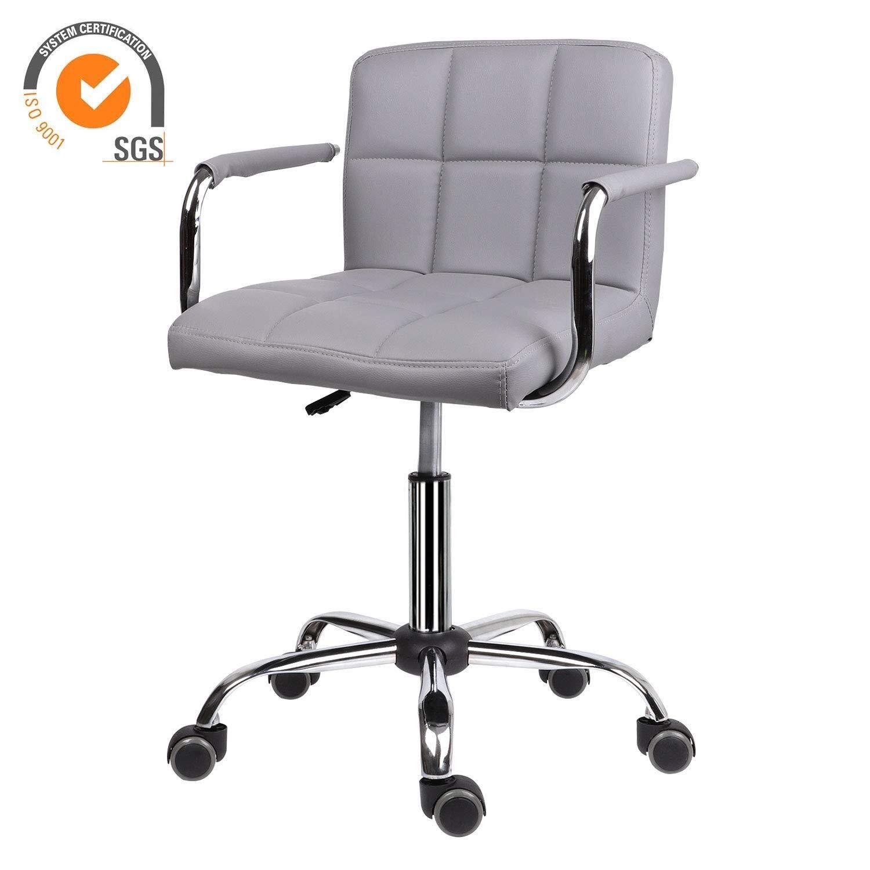 Pangpang skrivbordsstol, läder skrivbordsstol bekväm vadderad datorstol, bekväm vadderad datorstol med armstöd svängbar stol, justerbar höjd svängbar stol (färg: vit) Grå