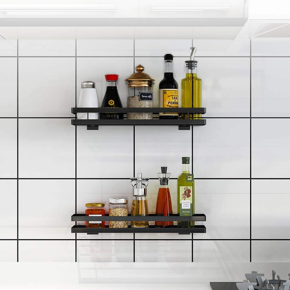 Wall-Mounted Spice Rack Kitchen Counter Storage Rack for Seasoning Cans, Etc,35cm by JXS-dish rack (Image #3)