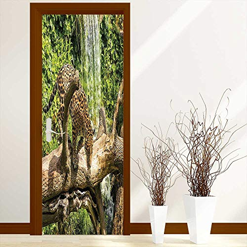 Door Murals Stickers Wall Decals Collection Jaguar Cat on a Tree Trunk Waterfall Endangered Species Wild Life Fast or Decoration-Heat Control, W32 x H80 inch