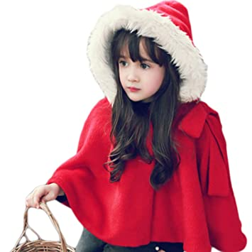 Amazon.com: Naimo Children Kid's Cute Thick Red Cape Cloak With ...