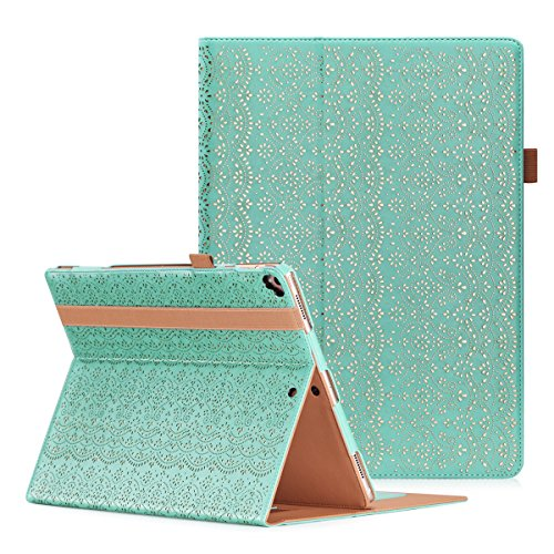 iPad Pro 12.9 2017 Case, WWW [Luxury Laser Flower] Premium PU Leather Case Protective Cover with Auto Wake/Sleep Feature foriPad Pro 12.9 (2017 Released) Mint Green (Flowers For A Wake)