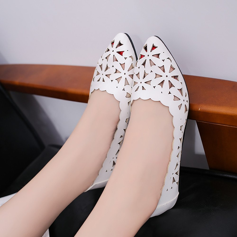 Women Flats Shoes Shallow Flat Heel Hollow Out Flower Shape Nude Shoes Pointed-Toe Shoes
