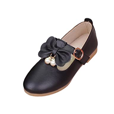 O N Kids Girls Mary Jane Ankle Strap Slip On Ballerina Princess Flat with  Bowknot and Pearls fe218c547146