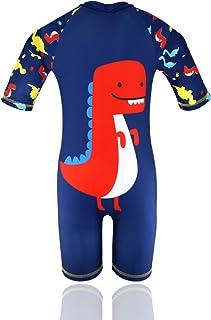 HONISEN Boys One Piece Rash Guard Swimsuits Kids Short Sleeve Sunsuit Swimwear UPF 50+