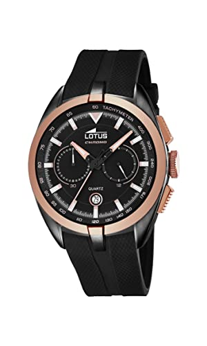 Lotus Men's Quartz Watch with Black Dial Chronograph Display and Black  Rubber Strap 18192/1