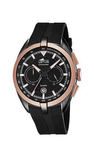 Lotus Reloj de Cuarzo Hombre, Negro con cronógrafo y Correa de Goma en Color Negro 18192/1: Lotus: Amazon.es: Relojes
