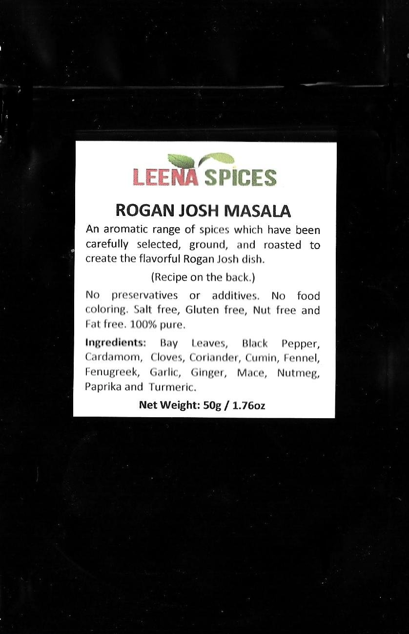 LEENA SPICES - Rogan Josh Curry Masala Spice Powder - Gluten Free Blend - Pure Unsalted Spiced Seasoning – No Color Mix – An Authentic And Tasty Indian Lamb Recipe Included – Net Wt 1.76oz