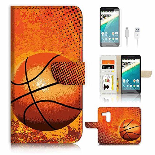 ( For Google Nexus 5X ) Flip Wallet Case Cover & Screen Protector & Charging Cable Bundle! A4283 Basketball
