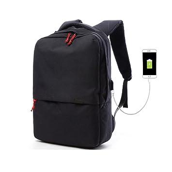 Valleycomfy - Mochila para portátil (hasta 15.6 pulgadas) unisex. Bolsa de lona con interfaz de carga USB para ocio/negocio/viajes. negro negro: Amazon.es: ...