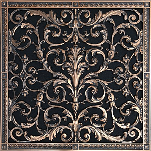 "Decorative Vent Cover, Grille, Return Register, made of Urethane Resin, in French style fits over a 20""x 20"" duct opening. Total size, 22"" by 22"", walls & ceilings only(not for floors) (Rubbed Bronze)"