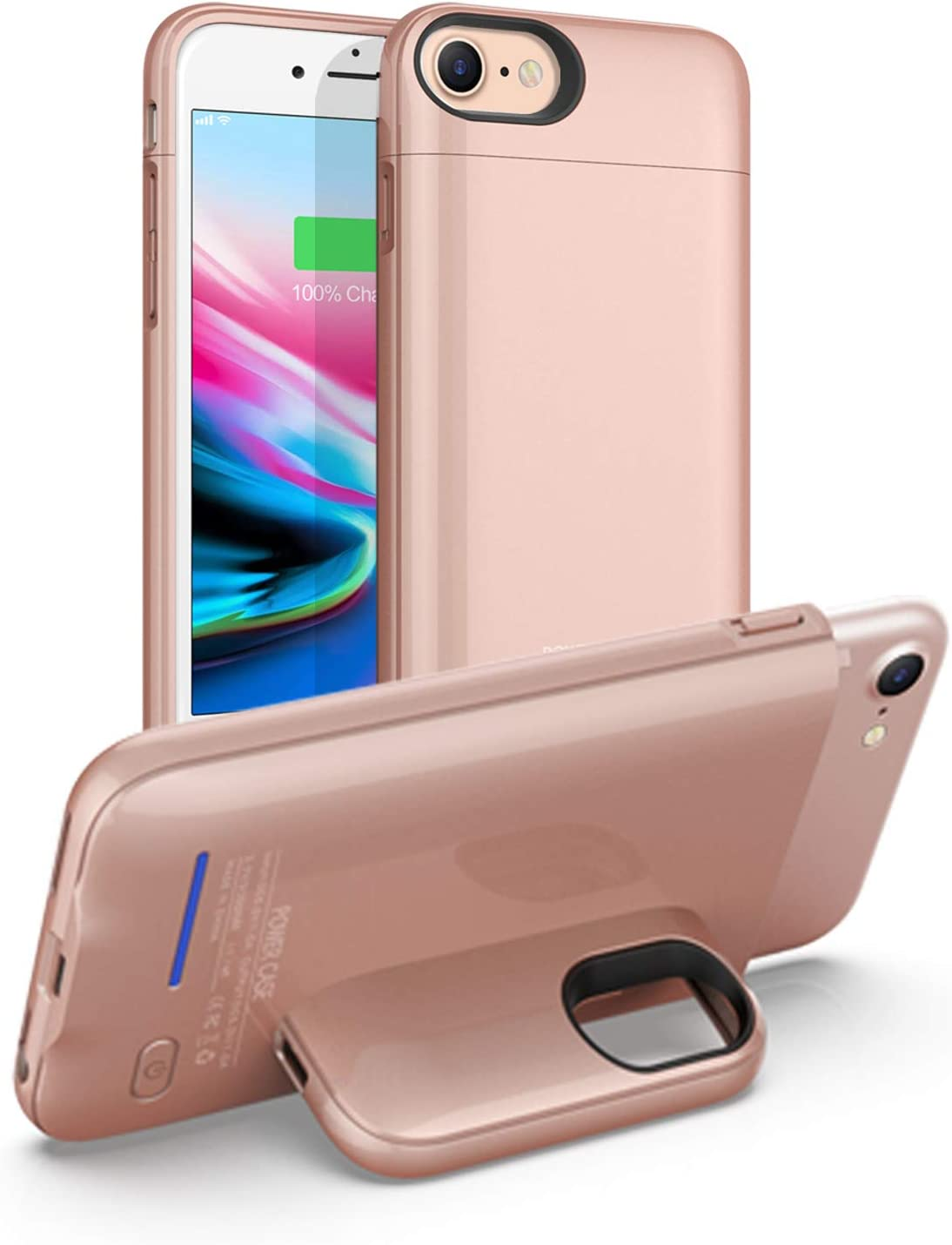 Battery Case for iPhone 6/6S/7/8/SE 2020(2nd Generation)—Charger Case Smart Protective Portable Charging Case?Upgraded—Mobile Phone Holder Function? Rechargeable Charger Case(4.7inch)—Rose Gold