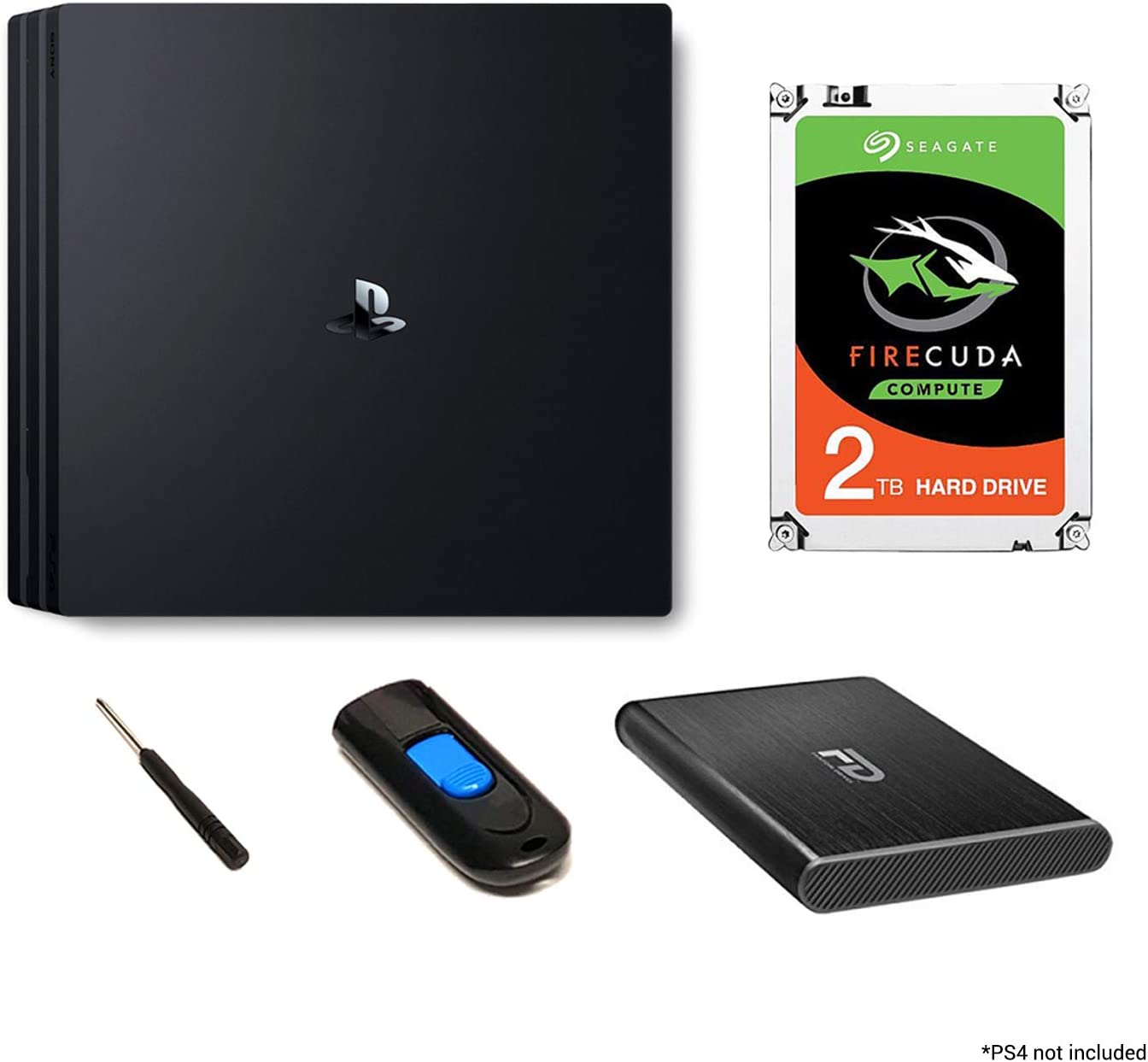 Fantom Drives 2TB PS4 SSHD (Solid State Hybrid Drive/SSD+HDD) Upgrade Kit - Seagate Firecuda - Compatible with PlayStation 4, PS4 Slim, and PS4 Pro