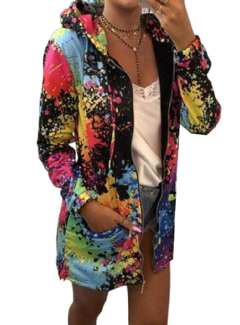 Rrive Womens Long Sleeve Pockets Zipper Basic Hooded Print Sweatshirt Jacket