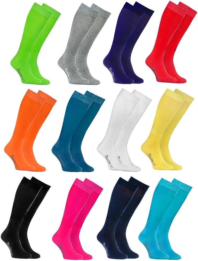 Rainbow Socks Donna Uomo Colorate Calzini Lunghi Al Ginocchio di Cotone