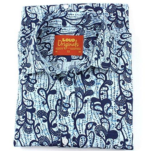 Loud Originals Regular Fit Hemd mit kurzen Ärmeln - indigo Blumenmuster