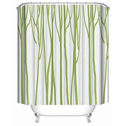 Custom Shower Curtain Abstract Bright Green Tree Trunk Art White Background Waterproof Anti Mildew Fabric Polyester
