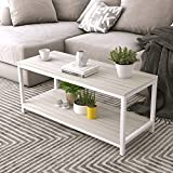 Soges Modern End Table 40'' Coffee Table TV Stand Side Table Sofa Table, White Maple TVST-ZS-MP-100