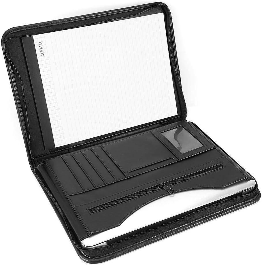 Schreibmappe A4 mit Reissverschluss aus PU-Leder Konferenzmappe mit Kartenf/ächer Business Aktentasche Organisieren